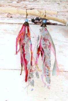 Statement jewelry, Long colorful dangle hippie festival gypsy earrings, Fabric fiber Jewelry, tagt team