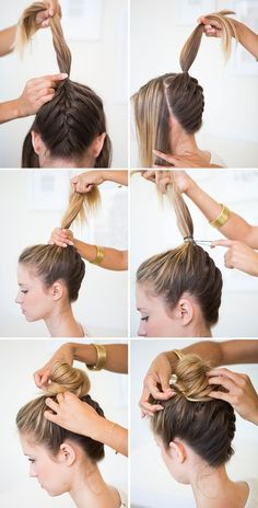 Step by Step Braided Bun Hairstyles how to braided bun hair tutorial how to braided space buns how to make a braided bun how to make a braided Plaits Hairstyles, Braided Hairstyles For Wedding, Easy Hairstyles For Long Hair, African Hairstyles, Beautiful Hairstyles, Bridal Hairstyles, Hair Plaits, Nurse Hairstyles, Workout Hairstyles