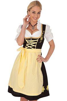 Dirndl Womens 3-Piece Black Midi Dirndl with Yellow Apron Size 36