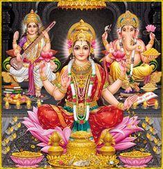 Shri Lakshmi Devi, Saraswati Devi, Ganesh ॐ Artist: Yogendra Rastogi Saraswati Devi, Shiva Shakti, Ganesh Ji Images, Ganesha Pictures, Krishna Images, Ganesh Photo, Lakshmi Images, Lord Shiva Family, Ganesh Wallpaper