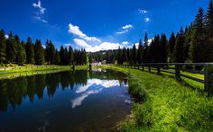 Download wallpapers 4k, Slovenia, lake, forest, summer