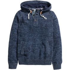 Hooded Sweater $34.99 ($35) ❤ liked on Polyvore featuring tops, sweaters, blue top, blue sweater, ribbed sweater, ribbed cotton sweater and hooded top