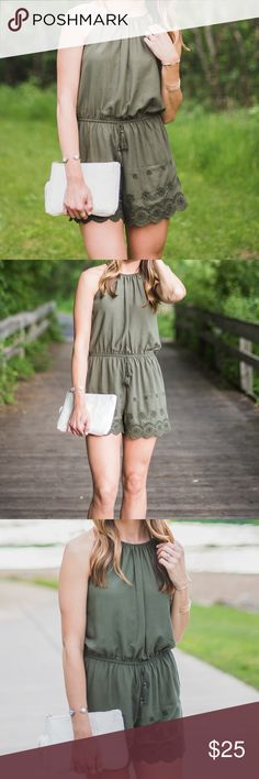 9964a569503 Mossimo High Neck Woven Romper Olive Green Olive green romper with a high  neckline and crochet