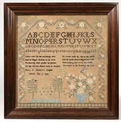 """By Mary Patterson Stewart in 1838. Mary P. Stewart's Sampler, March 9, 1838"""". All surrounded by florals with house, trees, birds, and urns of florals at bottom. Family history on back states, """"Mary Stewart (Millen) born 1820? Married David Millen, etc."""". Census states Mary Patterson Stewart born April 17, 1821, in Clifton, Clark County, Ohio, later married David Millen of Xenia, Green County, Ohio, died August 8, 1911, and was buried at Woodland Cemetery in Xenia, Ohio. 18"""" h. x 18"""" w."""