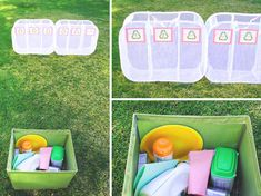 recycling relay race: played this at the lorax movie night. it seemed like they enjoyed it. pretty easy to throw together this little game.~eb