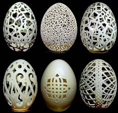 Carved eggshells