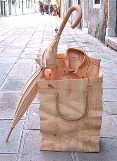 shopping bag, umbrella & shirt by Livio De Marchi #woodcarving #carving #art