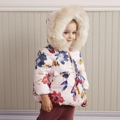 Down Season: Winter Weight: Closure Type: Zipper Pattern Type: Floral Filling: White duck down Collar: Hooded Size Details: Free Worldwide Shipping Estimated Delivery to US: Days Kids Winter Jackets, White Ducks, Kids Coats, Duck Down, Baby Winter, Hoods, Hooded Jacket, Harajuku, Girl Outfits