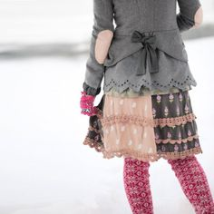 Grey jacket with pink elbow patches...I want! Love the skirt too!
