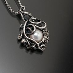 Saltwater Akoya Pearl and Fine Silver Pendant  от sarahndippity, $68.00