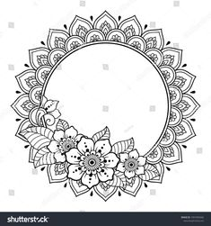 Circular pattern in form of mandala for Henna, Mehndi, tattoo, decoration -frame. Decorative ornament in ethnic oriental style. Coloring book page. Mandala Art Lesson, Mandala Artwork, Mandala Painting, Mandala Drawing, Circular Pattern, Mandala Pattern, Mandala Design, Mandala Coloring Pages, Colouring Pages