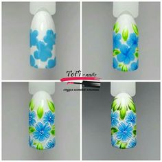 How to step by step to draw simple blue flowers on the nails. Colorful Nail Art, Floral Nail Art, Nail Art Diy, Tulip Nails, Flower Nails, Flower Nail Designs, Nail Art Designs, Art Simple, Watermelon Nails