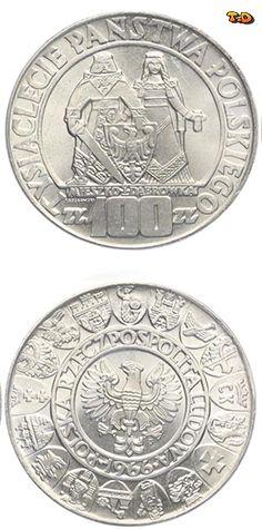 N♡T. Польша 100 злотых 1966 год. Серебро