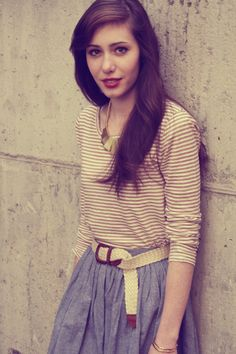 tuck in a stripped fitted tee to a high waisted skirt...and add a necklace