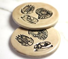 Fossil Ceramic Coaster Set with TWO Coasters in Mocha by surly