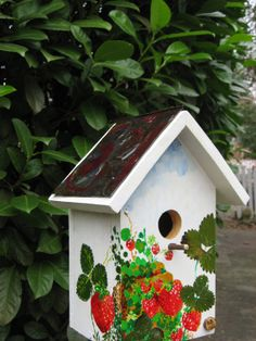 Strawberry Bird House with ceiling tile roof. by WolfShoppe, $70.00