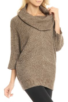 Ribbed Cowl Neck Sweater In Nutmeg & Khaki.