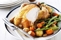 Super-easy roast chicken and vegetables? get instruction detail. Get the kids involved in the kitchen with this easy and healthy roast chicken recipe. Easy Roast Chicken, Roast Chicken Recipes, Meat Recipes, Asian Recipes, Chicken Receipe, Turkey Recipes, Roasted Vegetables With Chicken, Roasted Chicken, Clafoutis Recipes