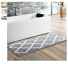 "Uphome Moroccan Patten Extra Long Microfiber Washable Bathroom Rug - Non-slip Soft Absorbent Decorative Bath Mats Runner Floor Mat Carpet (18""W x 48""L, Grey) - http://amzn.to/2vBWnbu"