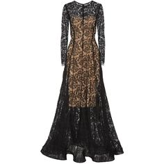Lela Rose Lace gown ($1,660) ❤ liked on Polyvore featuring dresses, gowns, black, lace slip, slip gown, lela rose, lace evening dresses and lace evening gowns