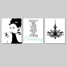 Mint Black Girl Bedroom Art Audrey Hepburn Don't Be by Tessyla