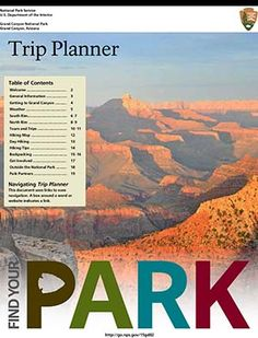 Graphic shows cover of Grand Canyon Trip Planner showing Grand Canyon at sunset.