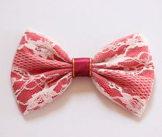 #hairbows  white lace and red satin bow!