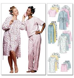 M2476 | Misses' Robe, Nightgown Or Top and Pull-On Pants Or Shorts | Family Sleepwear | McCall's Patterns