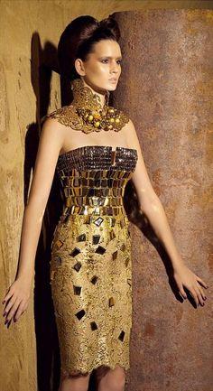 Haute Couture by Nicolas Jebran. Shades of Gustav Klimt...