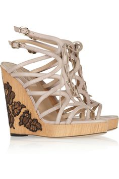 these look like they would empty out my bank account Lace Wedges, Leather Wedges, Pump Shoes, Shoe Boots, Shoes Heels, Happy Shoes, Designer Sandals, Sandals For Sale, Slingback Pump