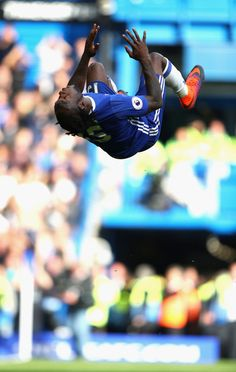 Victor Moses  celebrates scoring his sides third goal during the Premier League match between Chelsea and Leicester City at Stamford Bridge on October 15, 2016 in London, England.
