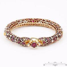 Antique Vintage Art Nouveau 14k Gold Ruby Pearl Mughal Peacock Bangle Bracelet!