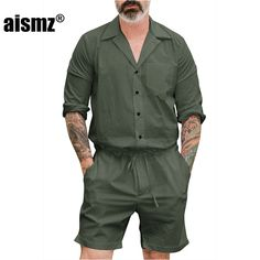 ab0499549fa Aismz New Men s Summer Jumpsuit Cargo Short Pants Set Male Full Sleeve Overalls  Mens Rompers Single
