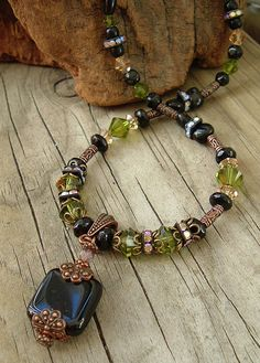 Ornate Copper Necklace Black and Green Crystal by BohoStyleMe