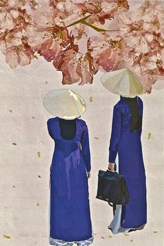 """Vietnamese Women.   Inspired by the Vietnamese traditional dress, Illustrator. Official Poster for """"Alumni & Friends Art Show and Sale"""" at Laguardia Arts High School."""
