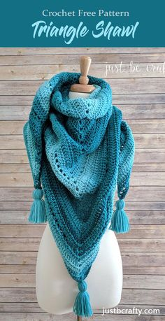 Crochet Triangle Shawl - This list has 20 free crochet shawl patterns, each unique and suitable for any occasion. These are the best shawl patterns out there. One Skein Crochet, Crochet Triangle Scarf, Crochet Shawl Free, Crochet Shawls And Wraps, Crochet Scarves, Crochet Minecraft, Knitting Patterns, Free Knitting, Shawl Patterns