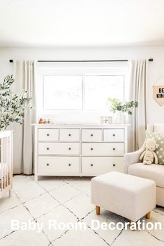 neutral nursery decor, gender neutral nursery with white glider and white boho r. neutral nursery decor, gender neutral nursery with white glider and white boho r. Childrens Room Decor, Baby Room Decor, Nursery Room, Nursery Decor, Girl Nursery, Nursery Ideas, Childrens Beds, Bedroom Wall, Vintage Nursery Girl