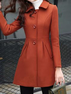 Lady lapel collar single breasted coat Shop sexy club dresses, jeans, shoes, bodysuits, skirts and more. Faux Fur Hooded Coat, Coats For Women, Clothes For Women, Types Of Collars, Stylish Dresses, Stylish Outfits, Coat Dress, Types Of Sleeves, Korean Fashion