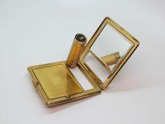 Vtg 1950's KIGU OF LONDON Gold Tone Mirror Compact Powder Case & Lipstick UNUSED