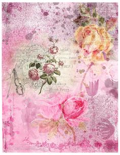 Vintage Scrapbook, Printable Paper, Vintage Roses, Digital Collage, Junk Journal, Ephemera, Vintage Style, Embellishments, Decoupage