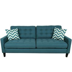 Porter Harlow Deep Teal Contemporary Modern Sofa with Woven Chevron Accent Pillows | Overstock.com Shopping - The Best Deals on Sofas & Loveseats
