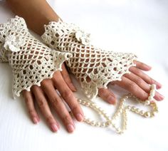 NOSTALGICRomantic Lace Cuffs  with  Flowers by Rumina on Etsy, $39.00