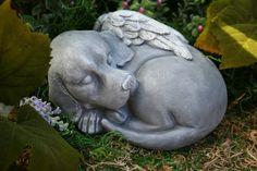 Dog Angel Statue - Beautiful Pet Memorial Garden Sculpture. $49.99, via Etsy.