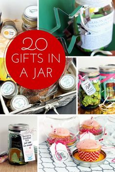 Get 20 gifts in a jar here!  Perfect ideas for Christmas and the holidays!