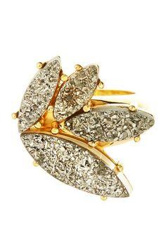 Marcia Moran Titanium Druzy Leaf Cluster Ring by Marcia Moran on @HauteLook