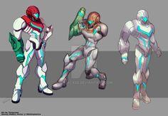 Art trade : Samus Reborn Armor concept by Tomycase