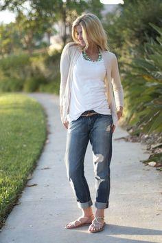 California casual: soft neutrals boyfriend jeans statement necklace