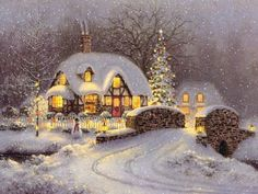 Thomas Kinkade Christmas Cottage - I've Always Loved This Picture! Christmas Scenes, Christmas Past, Country Christmas, Christmas Pictures, Winter Christmas, Cottage Christmas, Christmas Prayer, Swedish Christmas, Christmas Fireplace