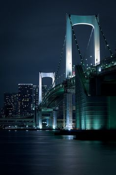Night Street - Rainbow Bridge, Tokyo, Japan: photo by cocoip, via Flickr