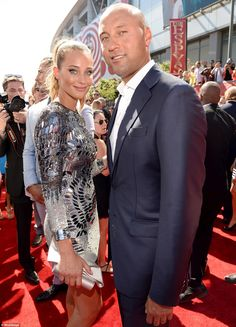Sparkling: Hannah Davis looked pretty as a picture on the arm of beau of three years Derek Jeter